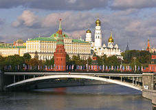 Vista di Cremlino di Mosca dal fiume di Moskva Immagine Stock Libera da Diritti
