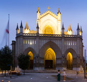 Vista di crepuscolo della cattedrale di Mary Immaculate Fotografie Stock