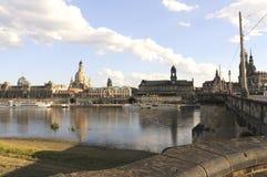 Vista di Dresda dal augustus del ponte Immagini Stock Libere da Diritti