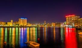 Vista di Dubai Creek nella sera fotografia stock libera da diritti