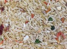 Vista di fine condita manzo del preparato del riso Fotografia Stock