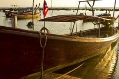 Vista di fine della barca dei pescatori Immagini Stock