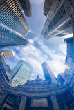 Vista di Fisheye delle costruzioni moderne Concetto di affari Immagini Stock