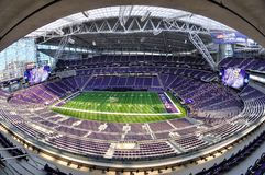 Vista di Fisheye dello stadio della Banca degli Stati Uniti di Minnesota Vikings a Minneapolis Fotografia Stock
