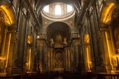 Vista di Genetal dentro la basilica di Estrela a Lisbona, Portogallo fotografia stock libera da diritti