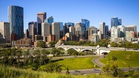 Vista di giorno dell'orizzonte di Calgary Immagini Stock Libere da Diritti