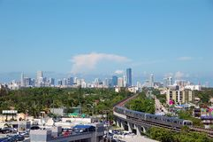 Vista di giorno dell'orizzonte di Miami fotografia stock