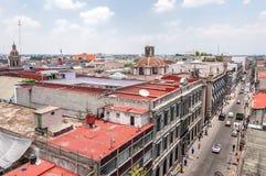 Vista di giorno dello zocalo di Città del Messico dai tetti Fotografia Stock