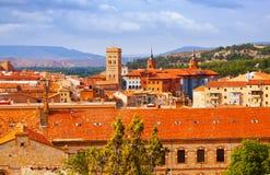 Vista di giorno di Teruel con i punti di riferimento Fotografie Stock Libere da Diritti
