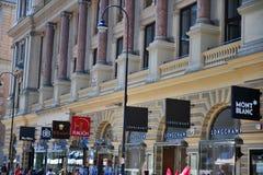 Vista di Graben della strada dei negozi della città dentro di Vienna Fotografie Stock Libere da Diritti