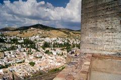 Vista di Granada da Alhambra Fotografie Stock