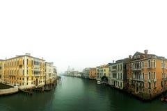 Vista di Grand Canal a Venezia su un fondo bianco Fotografia Stock Libera da Diritti