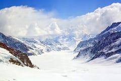 Vista di grande ghiacciaio di Aletsch Fotografia Stock Libera da Diritti
