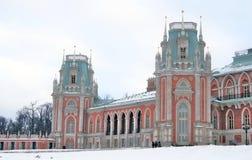 Vista di grande palazzo nel parco di Tsaritsyno a Mosca Fotografia Stock