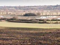 vista di grande valle con il fiume del lago e fila degli alberi nella distanza fuori del pavimento marrone di struttura Fotografia Stock Libera da Diritti