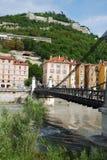 Vista di Grenoble con la fortezza del Bastille. Immagini Stock
