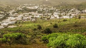 Vista di Haria, la valle delle mille palme a Lanzarote fotografie stock