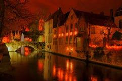 Vista di HDR dopo il tramonto di Bruges, Belgio, Fotografie Stock Libere da Diritti