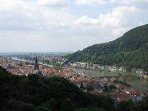 Vista di Heidelberg dai giardini del castello Fotografie Stock