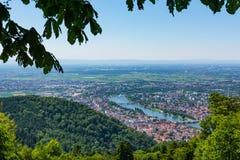 Vista di Heidelberg sopra il paesaggio E della Baden-Wuerttemberg il fiume Neckar Immagine Stock Libera da Diritti
