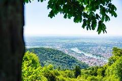 Vista di Heidelberg sopra il paesaggio E della Baden-Wuerttemberg il fiume Neckar Fotografia Stock Libera da Diritti