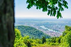 Vista di Heidelberg sopra il paesaggio E della Baden-Wuerttemberg il fiume Neckar Immagini Stock Libere da Diritti