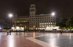 Vista di Ight del quadrato della Catalogna a Barcellona Immagine Stock