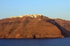 Vista di Imerovigli al tramonto - isola di Santorini Immagini Stock