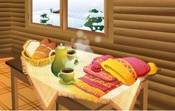 Vista di inverno attraverso una finestra illustrazione di stock