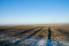 Vista di inverno con le ombre Fotografie Stock Libere da Diritti