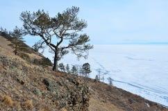 Vista di inverno del lago Baikal, popolare Malaya Kodilnaya fotografia stock libera da diritti