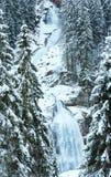 Vista di inverno della cascata delle alpi Immagini Stock