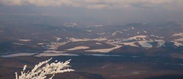 Vista di inverno della città Snina alla Slovacchia Immagini Stock Libere da Diritti