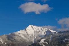 Vista di inverno della montagna di Schafberg in alpi austriache Immagine Stock