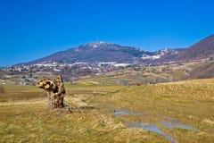 Vista di inverno della natura della montagna di Kalnik Immagine Stock