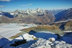 Vista di inverno delle alpi dal paradiso del ghiacciaio del Cervino, Svizzera Fotografia Stock Libera da Diritti