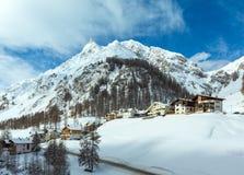 Vista di inverno delle alpi di Samnaun (svizzeri) Fotografia Stock Libera da Diritti
