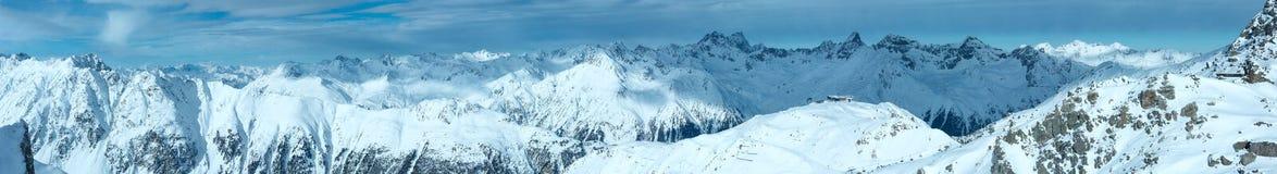 Vista di inverno delle alpi di Silvretta (Austria) Panorama Fotografia Stock