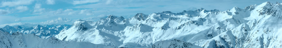 Vista di inverno delle alpi di Silvretta (Austria) Panorama Fotografie Stock Libere da Diritti