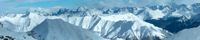 Vista di inverno delle alpi di Silvretta (Austria) Panorama Fotografie Stock