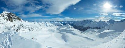 Vista di inverno delle alpi di Silvretta (Austria) Panorama Fotografia Stock Libera da Diritti
