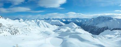 Vista di inverno delle alpi di Silvretta (Austria) Panorama Immagini Stock