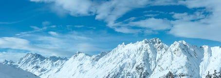 Vista di inverno delle alpi di Silvretta (Austria) Panorama Immagine Stock Libera da Diritti