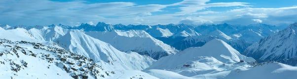 Vista di inverno delle alpi di Silvretta (Austria) Panorama Immagine Stock