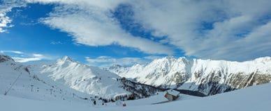 Vista di inverno delle alpi di Silvretta (Austria) Panorama Immagini Stock Libere da Diritti