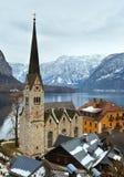 Vista di inverno di Hallstatt (Austria) Fotografia Stock
