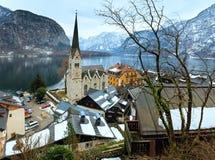 Vista di inverno di Hallstatt (Austria) Fotografia Stock Libera da Diritti
