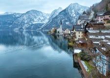 Vista di inverno di Hallstatt (Austria) Immagine Stock