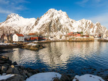 Vista di inverno di Svolvaer, isole di Lofoten, Norvegia Fotografie Stock Libere da Diritti