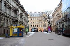 Vista di inverno di tempo di tarda mattinata della città di Vilnius Fotografia Stock